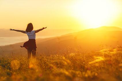 Woman Victory Sun Field Breathe