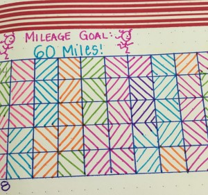 One month's mileage tracker in my bullet journal, complete with self-portrait. :)