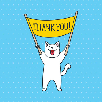 Vector illustration of cute white cat holding a banner THANK YOU!