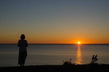 Woman Sunset Lake Calm