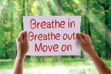Breathe In Breathe Out Move On card with nature background
