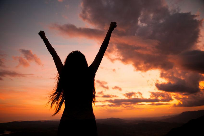 Woman Victory Sunset Sunrise Breathe