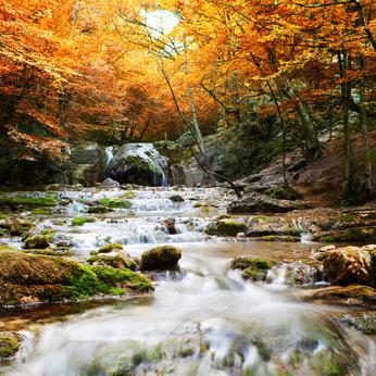 Natural autumn Waterfall
